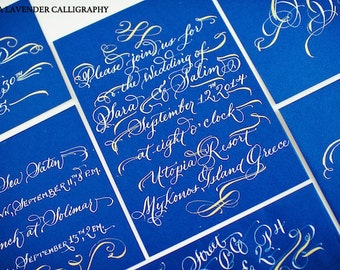 Hand Lettered Wedding Calligraphy - White and Gold on Blue