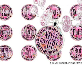 Breast Cancer Digital Download, Breast Cancer Jewelry, Breast Cancer Awareness 1 inch Circle Tags, Group  Stickers, 1 inch Bezels