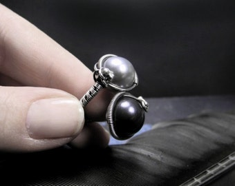 Statement ring, wire wrapped ring, fine Silver ring, black Pearl, silver Pearl, sterling silver ring, one size ring