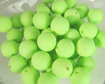 40 Vintage 10mm Matte Neon Green Round Lucite Beads Bd1691