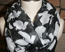 Cute Bunny Rabbit Infinity Scarf Easter Bunny Black Chunky Infinity Scarf-Easter Gift-Women's Scarf-Accessories-SewPriorAttireMitten