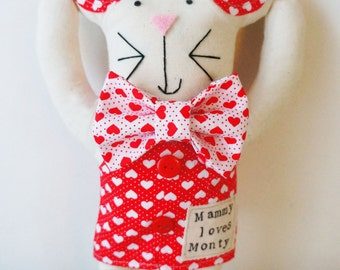 Valentines mouse art doll/ valentines gift/ valentines mouse.