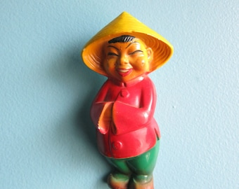 Kitschy Asian Boy Chalk Plaque - Wall Hanging
