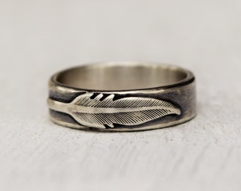 Sterling Silver Feather Ring - Hand Forged Jewelry - Feather Ring - Feather Jewelry- Wedding Band - Simple - Modern