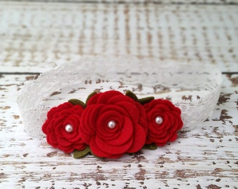 Valentines Baby Headband,Felt Flower Headband,Red Rose Headband,Newborn Toddler Girls,Rose Garland Headband, Valentines Hair Bow