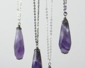The Dark Crystal - Big Purple Amethyst Stone Crystal Pendant on Long Silver Tone or Gunmetal Chain - Simple Layering Necklace