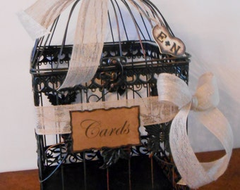 Large Wedding Birdcage Card Holder / Wedding Card Box / Rustic Burlap Wedding