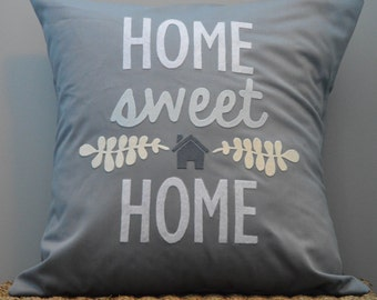 """18""""X18"""" Home Sweet Home Pillow Cover in Felt and Cotton Twill 