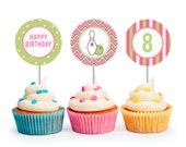Bowling Party Cupcake Toppers (Personalized, Girl Bowling Party, Printable Cupcake Toppers)