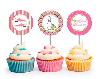 INSTANT DOWNLOAD Bowling Party Cupcake Toppers (Girl Bowling Party, Preppy Bowling Party, Printable Cupcake Toppers)