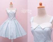 Plus Size Dress / Pin Up Girl 50's / Pastel Blue Polka Dot Halter Rockabilly Swing Dress