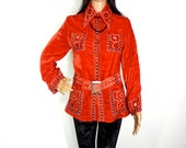 STUNNING 60S Indian Velvet Jacket With Lovely Embroidery