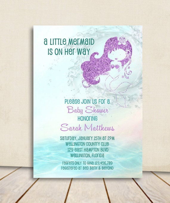 Mermaid Baby Shower Invitation Turquoise and Purple Glitter Little