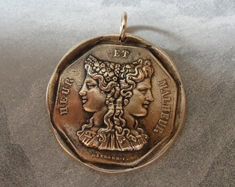 Luck - antique French Jeton pendant with goddess Flora and Medusa - Chance of Fortune - French token jewelry in bronze