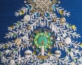 vintage needlecraft crewel christmas tree on peacock blue silk--treasury item