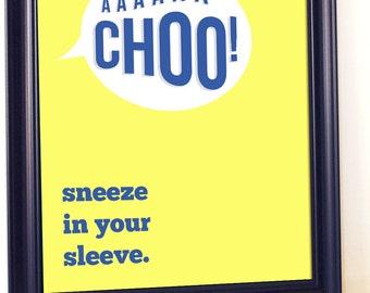 Classroom Poster, Sneeze In Your Sleeve, Etiquette, School Poster, Health Poster, Kindergarten Teacher,Kids Illustration, Educational Poster