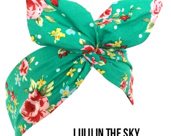 Green with Pink Vintage Floral Print - Pin up Wire Rockabilly Headband