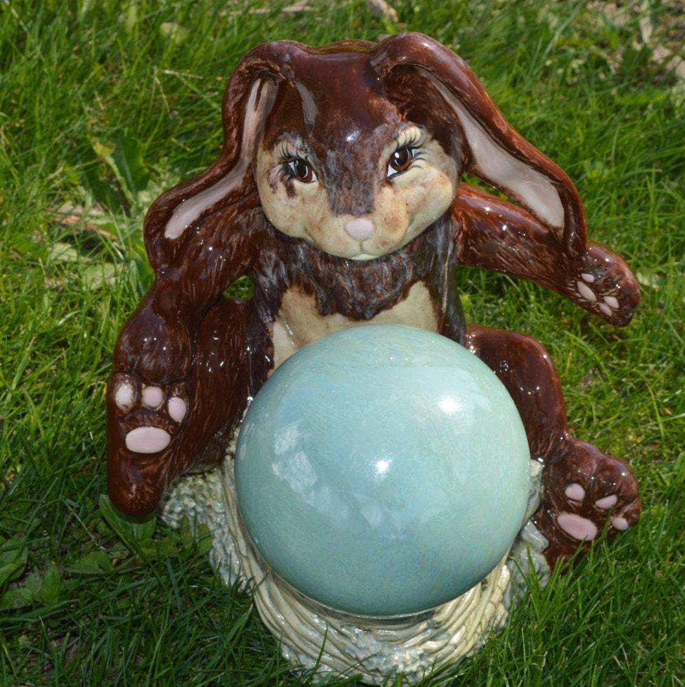 D coration de jardin en c ramique lapin avec par for Decoration jardin lapin