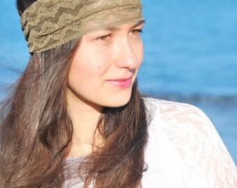 Summer music festival headband, Khaki lace headband, festival hair decoration, stretchy lacy hair bands