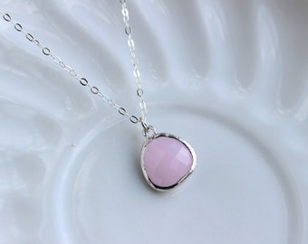 Silver Opal Pink Necklace - Silver Pink Jewelry - Blush Pink Necklace - Sterling Silver Chain - Wedding Jewelry - Bridesmaid Necklace