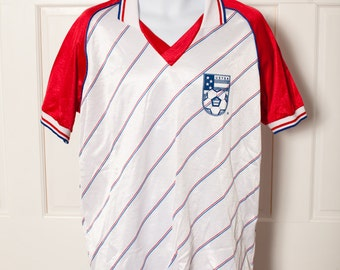 Vintage USYSA Soccer Jersey - red white blue - Number 25 - XL