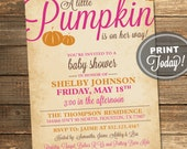 Pumpkin Baby Shower Invitation, Fall, Baby Girl, Autumn, Leaves, Pink, Orange, Brown, Printable (Custom Order, INSTANT DOWNLOAD)