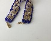 Handmade Bead Woven jewelry bracelet, beadwoven gold bracelet, bead weaving, handmade beaded jewelry, fashion jewelry, blue bracelet