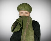 Olive green felt scarf and beret for her - Olive dark green felted Hat and Scarf Set  - OOAK hat amd scarf For Her - Ready to ship