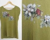 Vintage 1990s Olive Green Flower & Bird Print Reworked T-Shirt Size 10 UK, 6 US, 38 EU