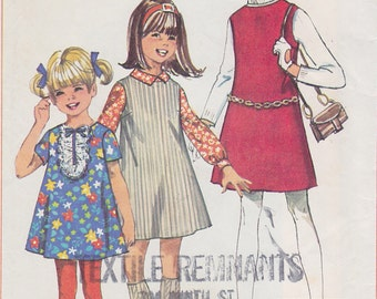 1968 Girls Tweens Mod Mini A Line Shift Dress Jumper Vintage Pattern, Simplicity 7783, High Round Neck, Short or No Sleeves, Lace Jabot