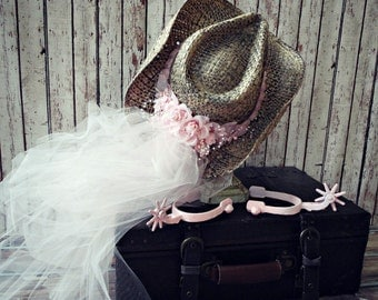 Pink-Bachelorette-party hat-cowgirl hat-western wedding veil-cowgirl hat and attached veil-western wedding decor-photo prop-sign-bride veil