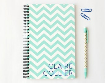 Personalized Notebook Custom Journal Teal Chevron Turquoise Navy Note Book School Supplies Spiral Bound Blank Pages Bridesmaids Gift Ideas