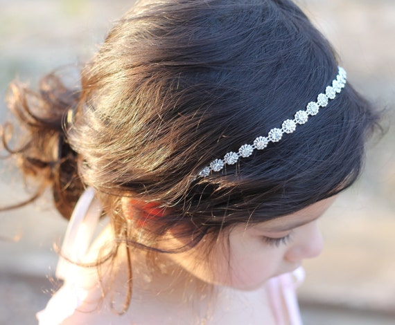 Rhinestone Headband Flower Girl Headband Headpiece Wedding Bridal Child Headband Baby Girl Christening