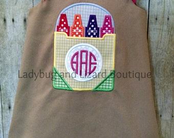 Khaki Crayon Box Monogram Dress Size 2, 3, 4, 5, 6