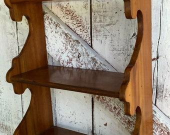 Wooden Wall shelf three shelves Hanging Vintage wood Shelf