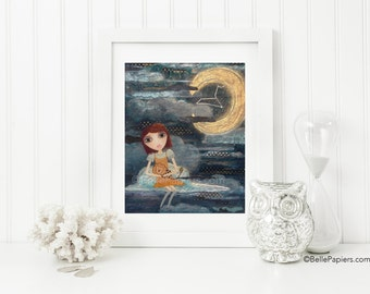 Leo Astrology Zodiac Constellation Mixed Media Girl Fine Art Print Leo Lion Crescent Moon Swarovski Stars Whimsical Nursery Art