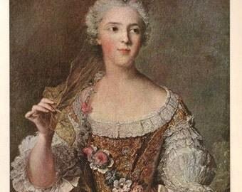 Antique Print, Portrait of Madame Sophie by Nattier 1920 wall art vintage color lithograph illustration painting