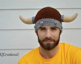 Viking Hat (all sizes available-Made to order) Brown and grey viking hat