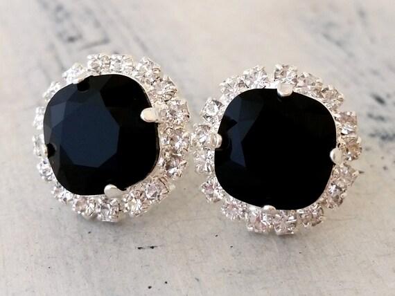 black stud earrings bridal earrings black rhinestone