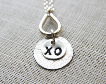 XO Necklace Mom Jewelry Mothers Day Hugs Kisses Jewelry Sterling Silver Charm Necklace Circle Jewelry Hand Stamped Letter Jewelry
