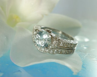 Aquamarine Ring And Matching Band Sterling Silver