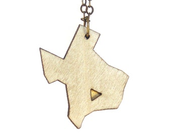 TEXAS | texas shaped pendant necklace, laser cut wood and brass necklace