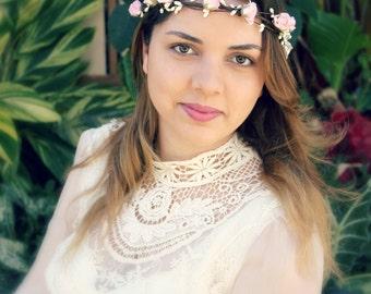 Bridal Floral Crown, Flower Crown, pink, spring, summer, headpiece, pink roses, Hair Accessories, bohemian, bridesmaids, flower girl