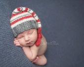 Newborn Grey and Red Stripes Knit Alpaca Sleeper Hat - Ready to Ship Photography Prop