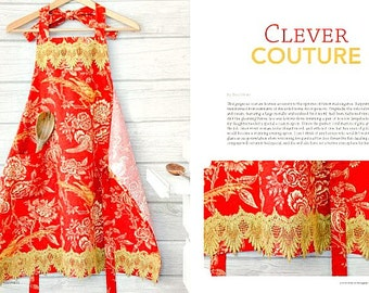 Apron in SOMERSET HOME Magazine 2015, Clever COUTURE, Red & Gold, Classy Cook Aprons Hostess Gift