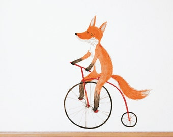 Fox on a Bike Removable Wall Decal & Sticker | LSB0135CLR-SSH