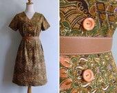 Vintage 70's Green Ethnic Batik Floral Cotton V-Neck Shift Dress M or L