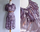 Vintage 80's Pleated Clown Collar Sheer Ikat Floral Purple Dress XS S or M