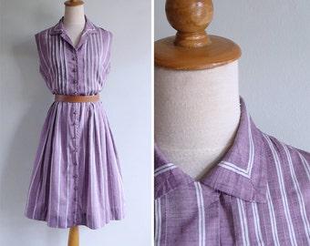 Vintage 1950's Kay Windsor Purple Pintuck Striped Cotton Dress L or XL