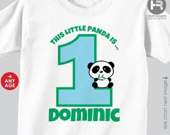 Panda Birthday Shirt Personalized Boy Panda Birthday Shirt or Panda Bodysuit -- Customized with child's  age and name